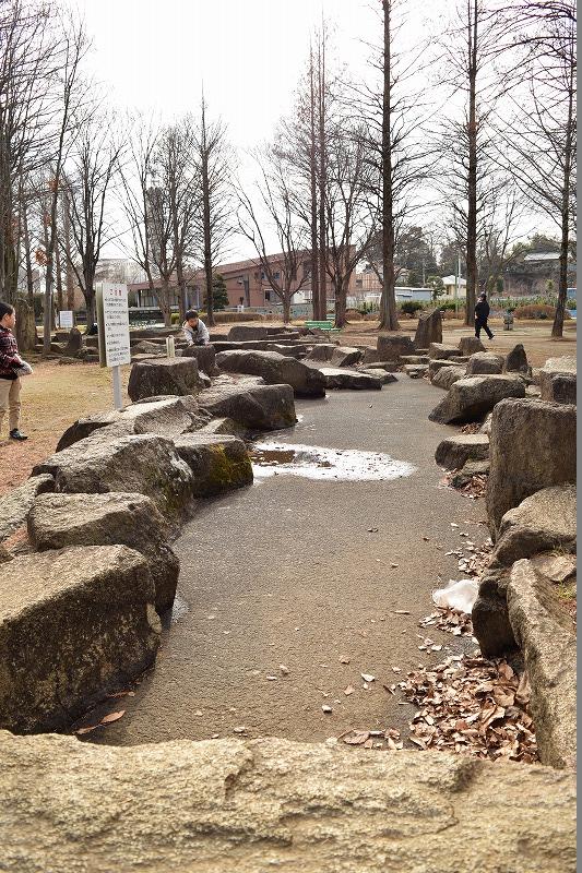 大崎公園の岩で作られた小川