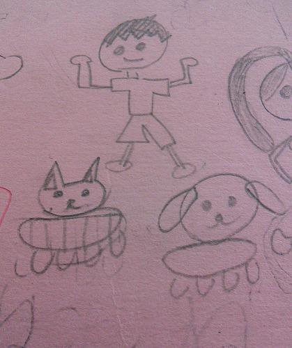 娘が描いた 猫と犬の絵です。よく出来ています。