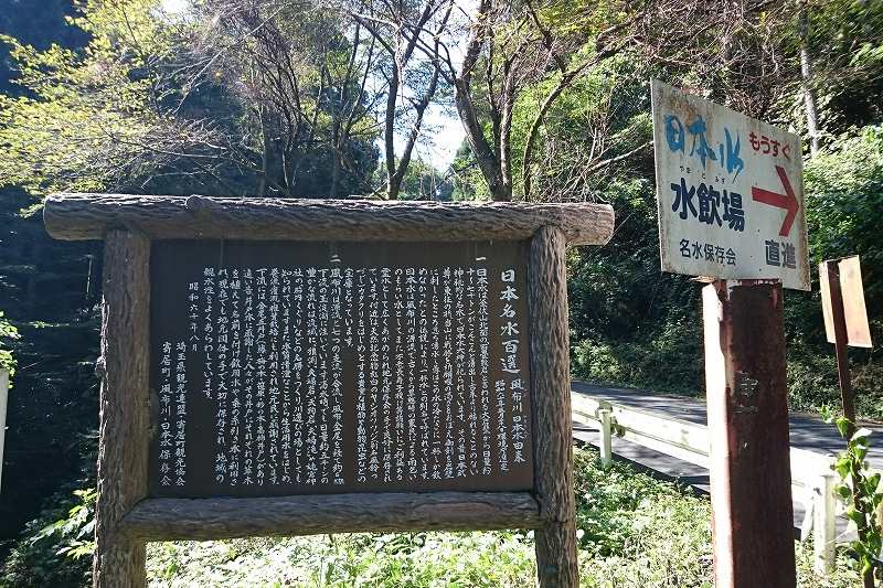 日本水水源への看板